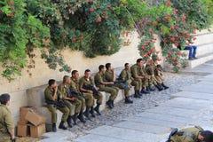 Israeli Troops inside of Old Jerusalem Royalty Free Stock Photos