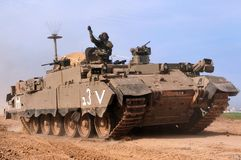 Israeli Troops Pullout from Gaza. GAZA STRIP - JANUARY 16: The first Israeli troops leaving Gaza Strip after Cast Lead operation on January 16 2009. It was a Royalty Free Stock Photography