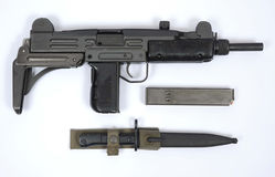Israeli UZI sub machine gun. The infamous UZI SMG with bayonet as used by Israeli defence forces and special forces worldwide. REAL WEAPON royalty free stock image