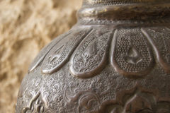 Israeli Vase, close up detail. Pottery with intricate carvings and designs Stock Image