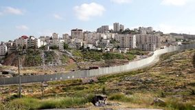 Israeli West Bank barrier stock video footage