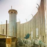 The Israeli West Bank barrier  is a separation barrier. BETHLEHEM, PALESTINE - JUNE 2, 2015: The Israeli West Bank barrier  is a separation barrier. Upon Royalty Free Stock Photography