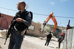 Israelische Demolierung des palästinensischen Hauses Stockfotos