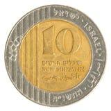 10 israelische neue Sheqel Münze Stockfotografie