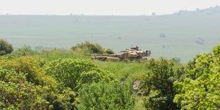Israelischer Behälter auf Kampfaufgabe auf dem Gebiet auf Golan Heights Lizenzfreie Stockfotos