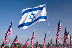 Israelisk flagga bland 3000 Royaltyfri Fotografi