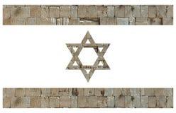 Israelisk flagga med stenar av den att jämra sig väggen Fotografering för Bildbyråer