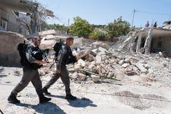 Israelisk rivning av palestinierhemmet Royaltyfri Bild