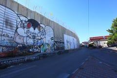 Israelisk Västbankensäkerhetsbarriär Betlehem Arkivbild