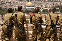 israeliska jerusalem soldater Arkivfoton
