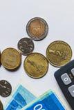 Israeliska sikelmynt och pappers- pengar Bästa wiew arkivbild