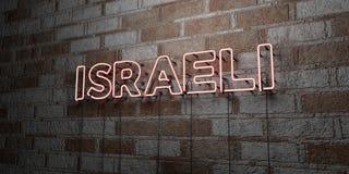 ISRAELITA - Sinal de néon de incandescência na parede da alvenaria - 3D rendeu a ilustração conservada em estoque livre dos direi ilustração stock