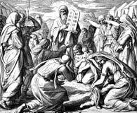 Israelitas y 10 mandamientos Imágenes de archivo libres de regalías