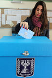 Israels Parliamentary Elections Day. ASHKELON - FEBRUARY 10: Israeli woman votes at a polling station on election day in Ashkelon on Tuesday, February 10, 2009 Royalty Free Stock Photos