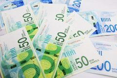 Israely Shekel money bills collection background. Israely Shekel money bills collection background Stock Photography