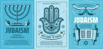Isreal loppaffisch med judendomreligionsymboler stock illustrationer