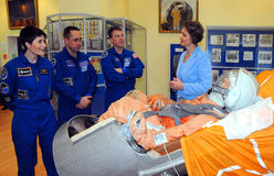 ISS Crew Astronauts in the Space Museum Royalty Free Stock Images
