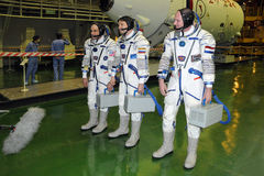 ISS 31 Crew Members. ISS 31 crew L-R: Don Pettit, Oleg Kononenko, Andre Kuipers answer journalists questions after fit check at Baikonur Cosmodrome in Baikonur Stock Photo