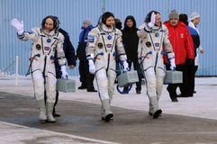 ISS Crew Walkout at Baikonur Cosmodrome. Expedition 31 crew (D.Pettit, O.Kononenko, A.Kuipers) walk out to report that they are ready for the flight to ISS at Stock Images