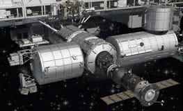 ISS dans l'orbite terrestre Amarrage de Soyuz image libre de droits