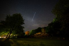 ISS Passes over Church. International Space Station passes over Stourton Church in Wiltshire with the milky way visible Royalty Free Stock Photography