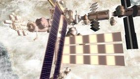 ISS que flutua sobre a ilha árabe video estoque