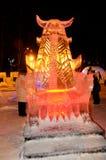 Isskulptur av en drake Royaltyfri Fotografi
