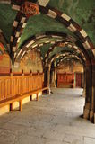 Issogne castle main entrance arcade and frescoes Royalty Free Stock Image