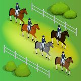 Issometric racehorses and lady jockey in uniform. Equestrian Jumping Athletes Sportswoman Games. Champion. Racing. Harness racing at the Hippodrome. Vector Stock Photo