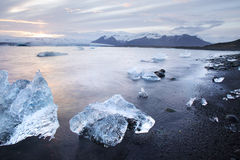 Isstora bitar på Jokulsarlon den is- lagun på solnedgången i Island Fotografering för Bildbyråer
