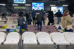 Issuance of the fan`s passport fan of the World Cup. Russia, Moscow, June 2018, the office of fans of the World Cup, issuing a passport ID of the fan stock photos
