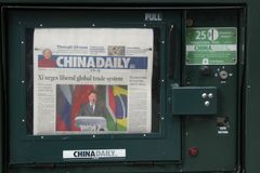 China Daily. Issues of the US edition of China Daily, is an English-language daily newspaper owned by the Publicity Department of the Communist Party of China stock photography