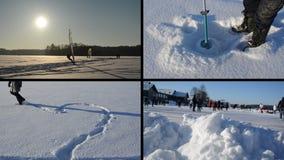 Issurfare Hjärtaform på snö Icehole drillborr Folkskridsko lager videofilmer