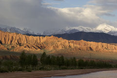 Issyk-Kul lake in the evening. Kyrgyzstan, Central Asia Royalty Free Stock Images