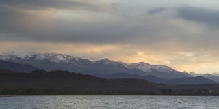 Issyk-Kul lake in the evening. Kyrgyzstan, Central Asia Royalty Free Stock Photos