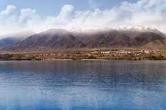 Issyk-kul. View of Issyk-kul lake in Cholpon-ata. Kyrgyzstan royalty free stock images