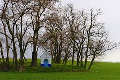 Ist ein grünes Feld voll der Weizenanlagen Kapelle in der Landschaft Moravian Toskana, Süd-Moray, Tschechische Republik, Europa Stockfotografie