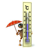 ist hölzerner Mann 3d Holding termometer Lizenzfreies Stockbild