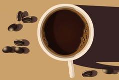 Ist hier ein Tasse Kaffee auf dem Tisch, der von den Unkosten angesehen wird und durch die Morgensonne belichtet ist lizenzfreie abbildung