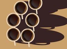 Ist hier ein Tasse Kaffee auf dem Tisch, der von den Unkosten angesehen wird und durch die Morgensonne belichtet ist vektor abbildung