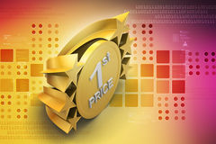 Ist prize, golden medal. In color background Stock Photography