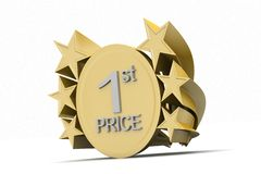 Ist prize, golden medel. In color background Stock Images