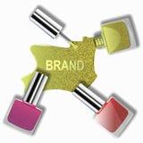 Ist schöner Nagellack, der Nagellack, der auf weißem Hintergrund, Werbung, Modedesign verschüttet wird lizenzfreie abbildung