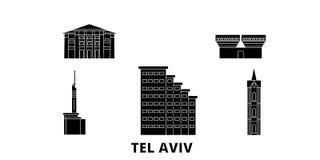 Istael, ensemble plat d'horizon de voyage de Tel Aviv Istael, illustration de vecteur de ville de noir de Tel Aviv, symbole, vues illustration libre de droits