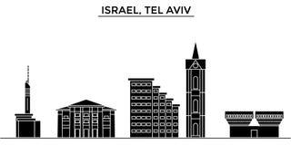 Istael, l'horizon de ville de vecteur d'architecture de Tel Aviv, paysage urbain de voyage avec des points de repère, bâtiments,  illustration stock