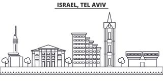 Istael, Tel Aviv architecture line skyline illustration. Linear vector cityscape with famous landmarks, city sights Royalty Free Stock Photo
