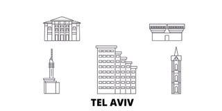 Istael, van de de lijnreis van Tel Aviv de horizonreeks Istael, van de het overzichtsstad van Tel Aviv de vectorillustratie, symb stock illustratie