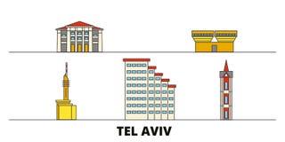 Istael, vlakke de oriëntatiepunten vectorillustratie van Tel Aviv Istael, de lijnstad van Tel Aviv met beroemde reisgezichten, ho royalty-vrije illustratie