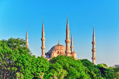 ISTAMBUL, TURKEY-MAY 07,2016 :美丽的苏丹阿哈迈德清真寺是h 免版税库存照片