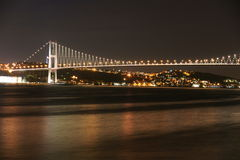 Istambul Bosphorus Bridge. Istambul Bosphporus Bridge, connecting Europe and Asia, viewed from small tourist island in the Bosphor pass in the night, Asia end Stock Image